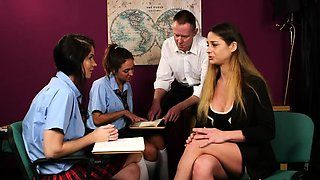 Clothed teacher and babes