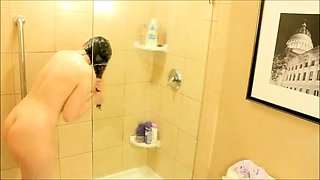 Adorable brunette teen with a wonderful ass takes a shower