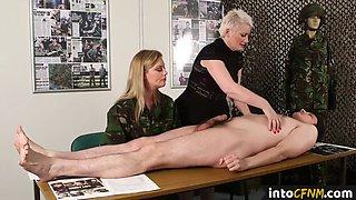 British CFNM femdoms command sub to jerk