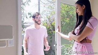 Charming brunette Eliza Ibarra fucks her neighbor because of interrupted masturbation