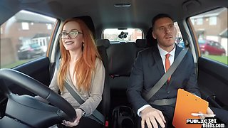 Public redhead babe doggy style in car test
