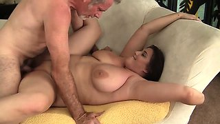 Thick and beautiful plumper seduces an older guy with her