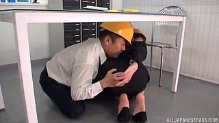 Japanese office babe is in for a spicy fuck play with her boss