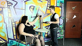 BBW Mistress facesitting and giving handjob to her slave