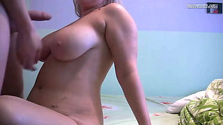 Cute Chubby Russian Blonde With Her Boyfriend