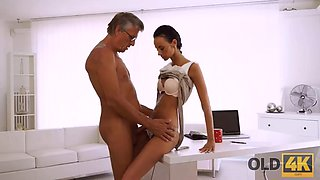 OLD4K. old man stretching sexy coworkers instead of working on a project
