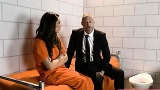 Busty trans Chanel Santini is barebacked in jail by attorney