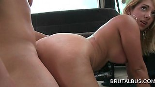 Busty blonde slit banged hard in the sex bus