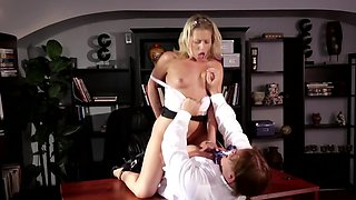 Aggressive office dicking of petite blonde courtesan