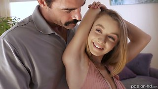 Luscious sweet looking stepdaughter Kenzi Kellie seduces her step daddy
