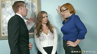 Horny secretaries want to make their boss super randy