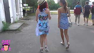 Two Girls Flashing Pussy In Public Park, Upskirt No Panties