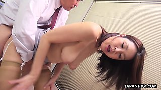 Sexy Japanese teacher allows student to touch her boobies and lick anal hole
