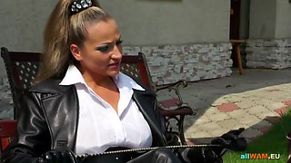 domina makes two babes wrestle in pool segment