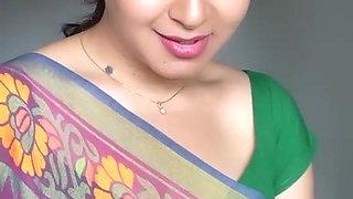 sexy Indian Aunty Sexy Green Saree