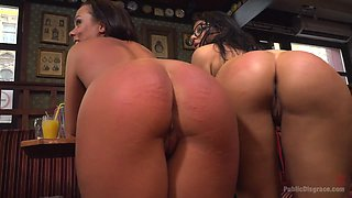 Submissive sluts with big spankable butts get punished in public