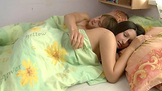 Lusty babe eats cumload after stud poundsd her in bed