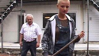 Part time working student girl fucking grandpa