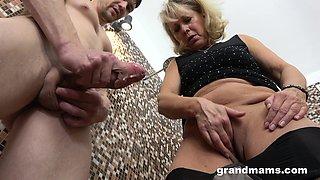 Wrinkled mature blonde slut is into jerking and sucking stiff boner cock