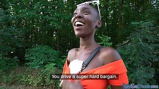 Ebony in pickup gives blowjob to guy outdoors POV