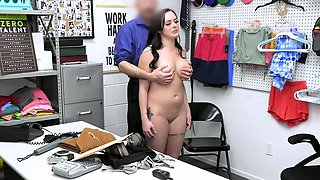 Busty shoplifter bends and gets fucked