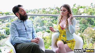 Hardcore fucking on the sofa with busty cougar Bunny Colby