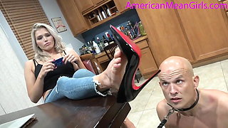 Blonde goddess has pay pig chastity slave