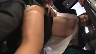 Japanese office lady get fucked and huge facial on bus