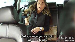 Beautiful girl in panties fucks in fake taxi pov
