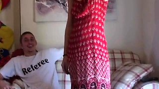 Enjoyable gal stands nude and enjoys heavy bed sex