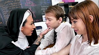 Dirty nun is having a threesome with this couple