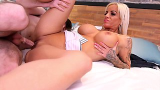 Lad shoves whole dick in premium MILF's wet cunt and butt hole