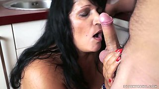 Thick BBW whore eats ass and fucks anally in the kitchen