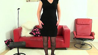 English milfs Jessica and April wear sexy black stockings