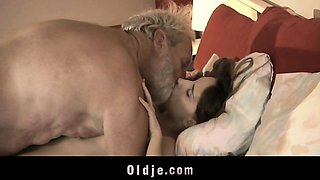 Very old grandpa fucking cute young girl