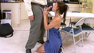 slutty student gets fucked right on the table