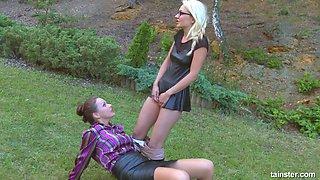 Crazy bitch Victoria Puppy pisses on sexy girlfriend outdoor
