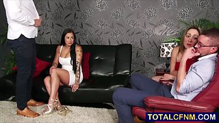 Two swinger couples blowjob cuckold session