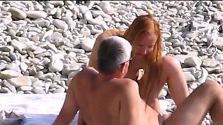 Nudist wife fucked on voyeur beach by fat husband