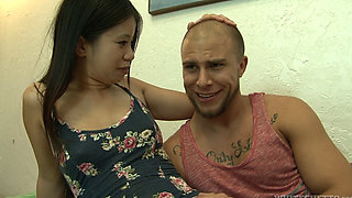 Asian Wife Forces Husband to Go Bi in a Gangbang