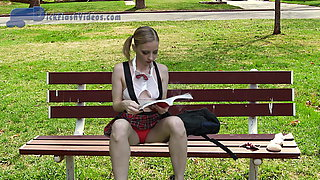 Schoolgirl Dickflash, Upskirt, CFNM Flashing at the Bus Stop