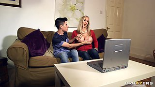 Boy blocked and fucked hard with sexy stepmom Rebecca Moore