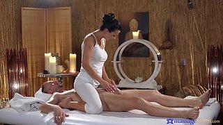 Sensual fucking on the massage table with seductive Shalina Devine
