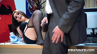 July Johnson got money from her boss to take off her panties and let him fuck her