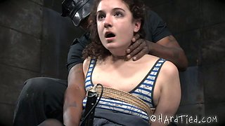 Cute curly babe gets punished in the dark room by horny BBC