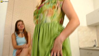 Naughty Teeny Babe Seducing A Hot Mom In The Kitchen - MatureNL