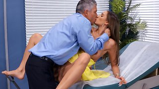 Perverted doctor is checking the pussy of his patient