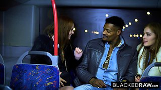 BLACKEDRAW Two Beauties Fuck Giant BBC On Bus!