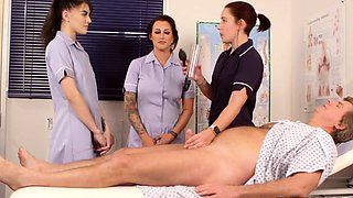 CFNM euro nurse instructs cock tugging babes