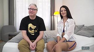 Sexy Slut dressed with Lingerie & Heels sucks Grandpas dick!